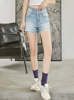 High Waisted Denim Fringed Edge Straight Shorts