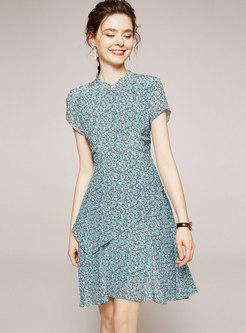 Mandarin Collar Floral Patchwork A Line Dress
