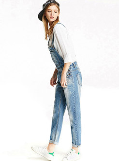 High Waisted Denim Long Overalls With Pockets