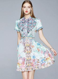 Tie-collar Print High Waisted Mini Skater Dress
