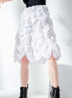Pure Color High Waisted Pleated A Line Skirt