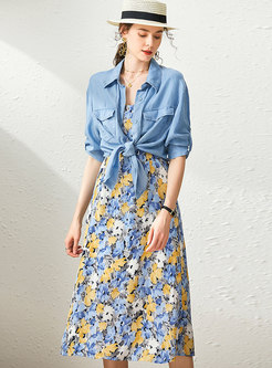 Half Sleeve Lapel Shirt & Floral Midi Slip Dress