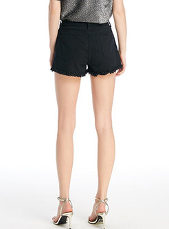 High Waisted Fringed Edge Shorts