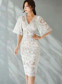 V-neck Shawl Sleeve Openwork Lace Sheath Dress
