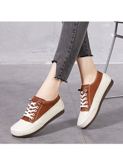Round Toe Color-blocked Lace-up Flats