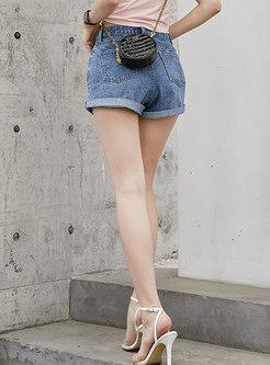 Blue Denim High Waisted Slim Shorts