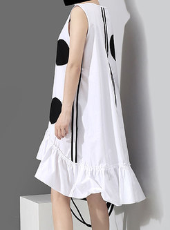 Polka Dot Sleeveless Loose Shift Dress