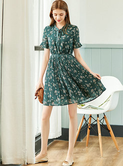 Short Sleeve Floral Chiffon Pleated Skater Dress