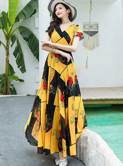 Bohemian Color-blocked Print Big Hem Beach Dress