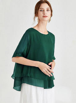 Solid Color Pullover Loose T-shirt
