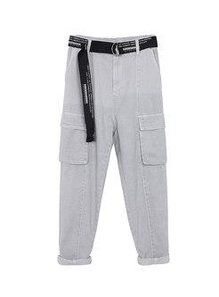 High Waisted Casual Denim Cargo Pants