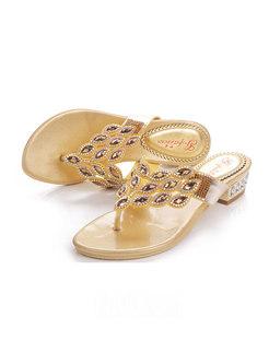 Summer Diamond Chunky Heel Slippers