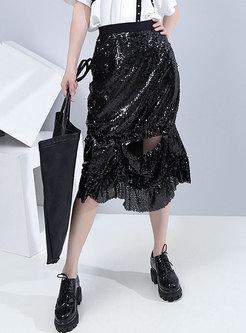 Black High Waisted Sequin Openwork Skirt