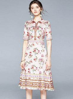 Floral Lapel High Waisted A Line Dress