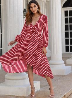 Deep V-neck Long Sleeve Striped Beach Midi Dress