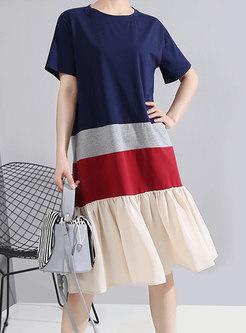 Short Sleeve Striped Patchwork T-shirt Dress
