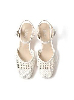 Round Toe Openwork Weave Chunky Heel Sandals