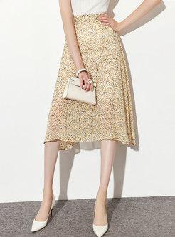Yellow High Waisted Floral A Line Midi Skirt