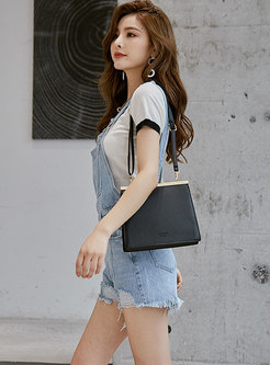 Light Blue Denim Fringed Edge Short Overalls