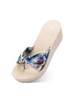 Round Toe Bowknot Print Beach Wedge Slippers