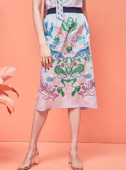 High Waisted Slit Straight Satin Midi Skirt