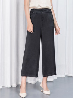 Pure Color High Waisted Wide Leg Cropped Pants