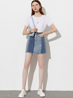 Color-blocked Denim Patchwork Beaded Mini Skirt