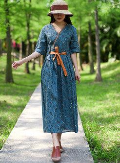 V-neck Floral Half Sleeve Midi Wrap Dress
