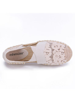 Round Toe Openwork Flat Lace Shoes