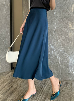 Solid Color Satin A Line Long Skirt