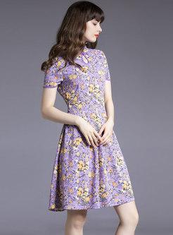 Mandarin Collar Openwork Floral A Line Skater Dress