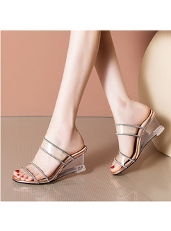 Round Toe Transparent Wedge Slippers