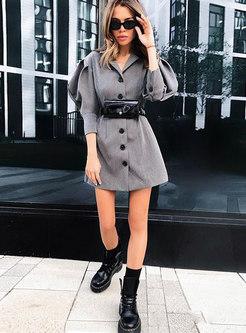 Grey Lantern Sleeve Work Short Blazer Dress