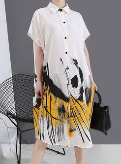 Lapel Print Single-breasted Loose Shirt Dress