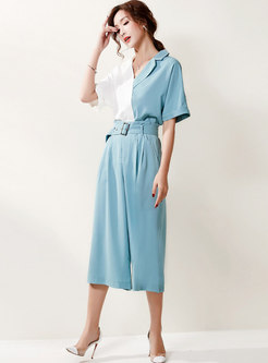 Color-blocked Notched Blouse & Palazzo Cropped Pants