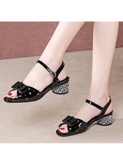 Square Toe Bowknot Buckle Chunky Heel Sandals