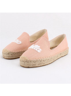 Round Toe Letter Embroidered Canvas Flats