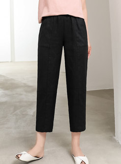 Pure Color High Waisted Linen Straight Pants