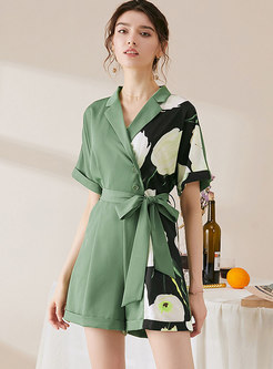 Color-blocked Patchwork Print Wide Leg Rompers