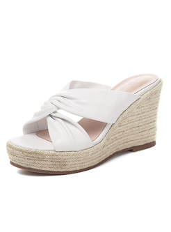 Round Toe Cross Leather Platform Wedges Slippers