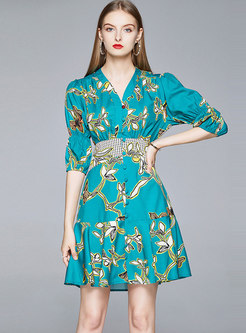 V-neck Print Puff Sleeve Mini A Line Dress