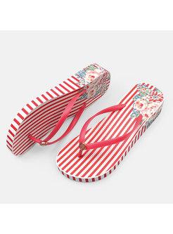 Red Striped Platform Beach Slippers