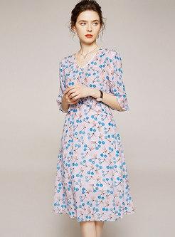 Flare Half Sleeve Floral Silk Skater Dress