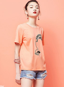 Short Sleeve Pullover Print Loose T-shirt