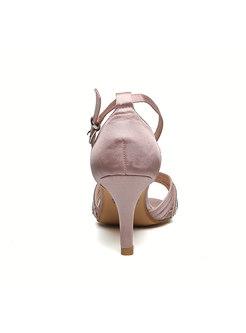 Round Toe Diamond Buckle High Heel Sandals
