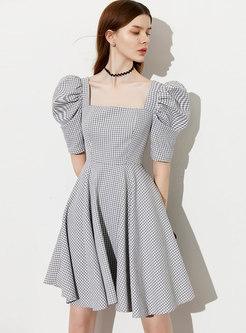 Square Neck Puff Sleeve Plaid Skater Mini Dress