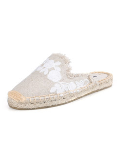 Round Embroidered Fringed Edge Slippers
