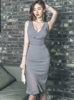 Pure Color Sleeveless Sexy Bodycon Peplum Dress