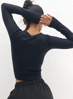 Crew Neck Long Sleeve Pullover Cropped Sport Top