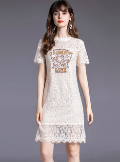 Embroidered Openwork Lace Knee-length Sheath Dress
